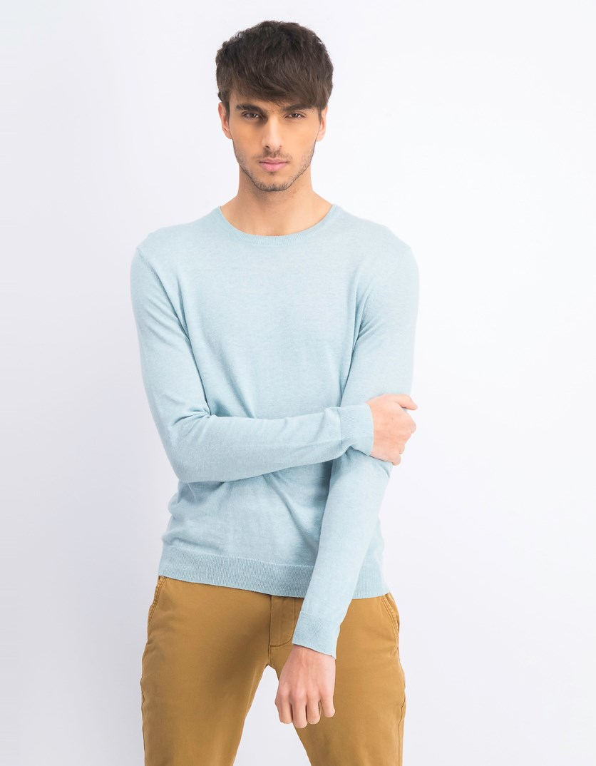 Men's Cotton Blend Lightweight Crewneck Sweater, Ether