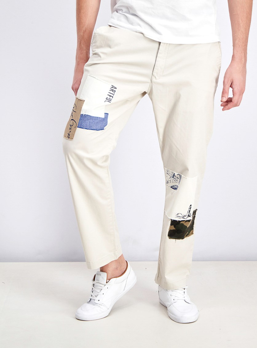 Mens Patchwork Casual Straight Leg Pants, Serene Beige
