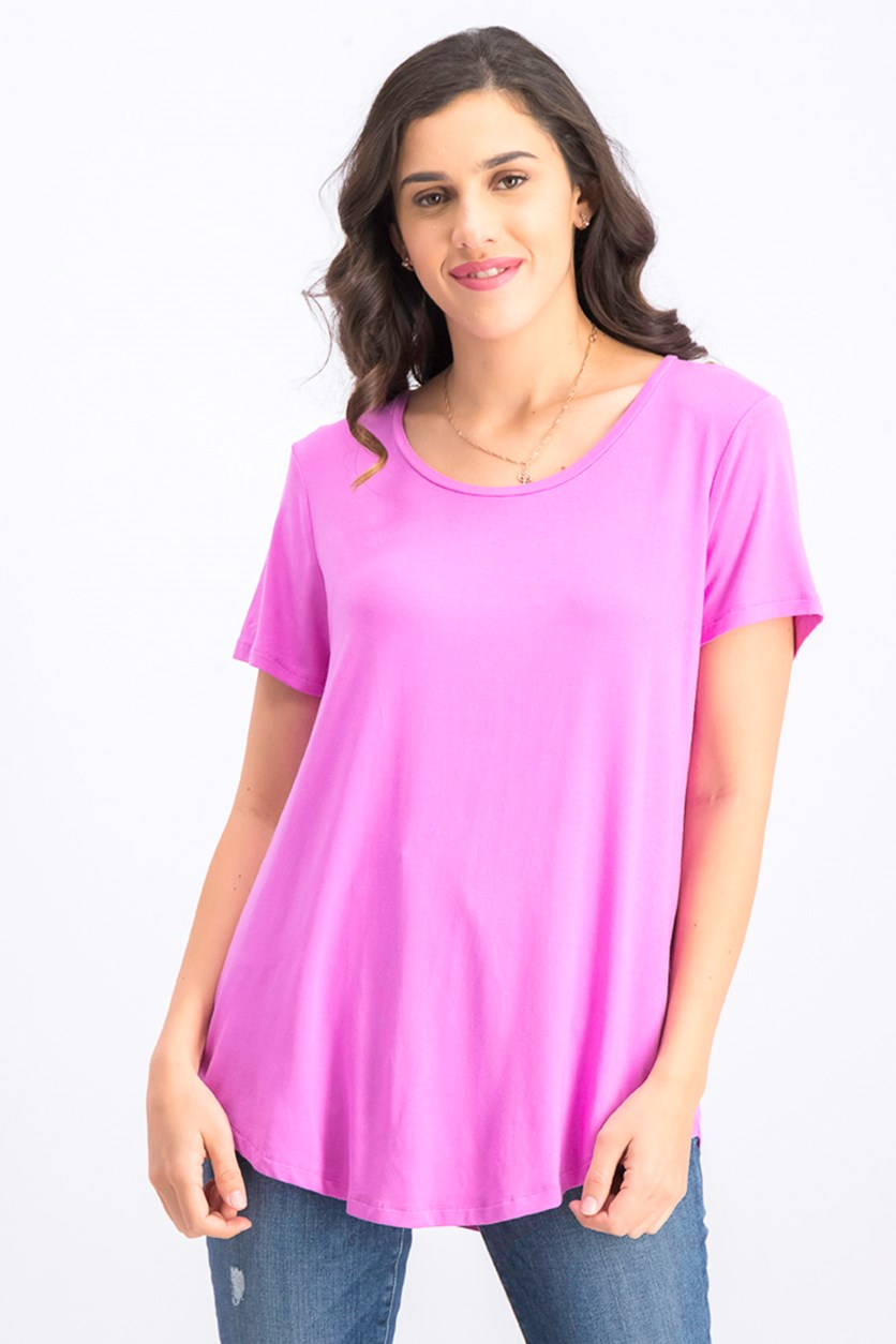 Womens Scoop-Neck Top, Peony Bloom