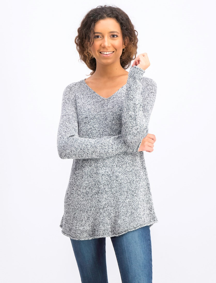 Women's Marled V-Neck Sweater, Grey/Black