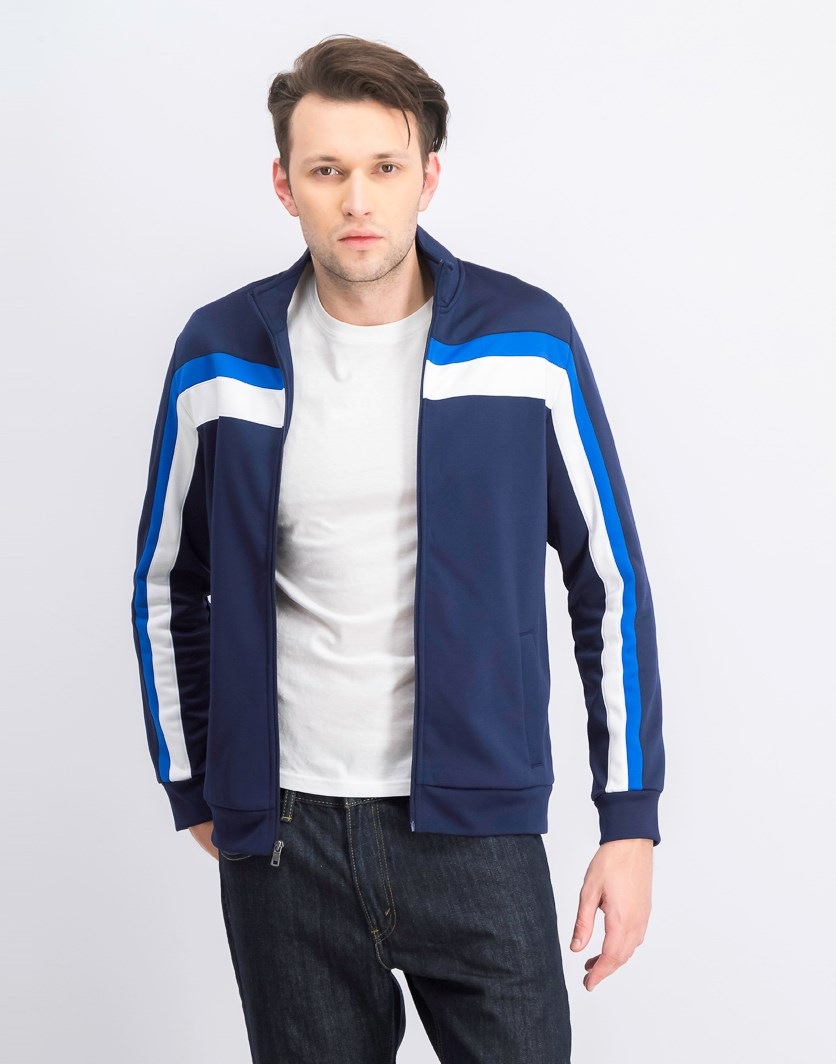 Men's Stripe Track Jacket, Navy Blue