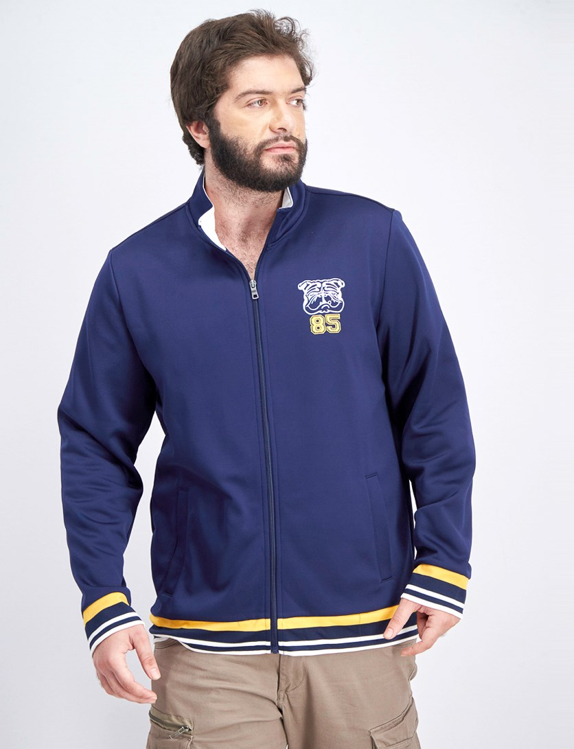 Men's Embroidered Bulldog Track Jacket, Navy Blue Combo