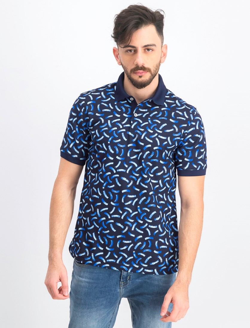 Men's Moisture-Wicking Printed Polo, Navy Blue