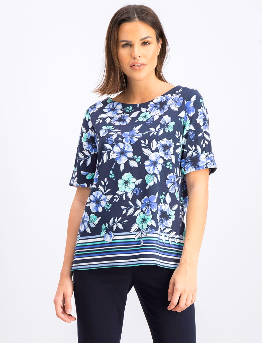 Women's Petite Printed Boat-Neck Top, Intrepid Blue
