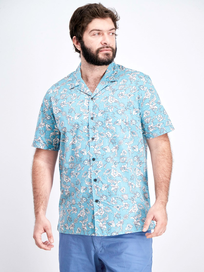 Men's Floral Print Cotton Button-Down Shirt, Teal Combo