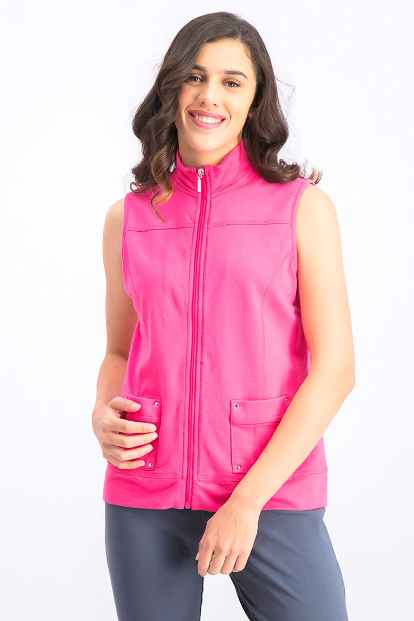 Womens Petite Zip Vest, Steel Rose