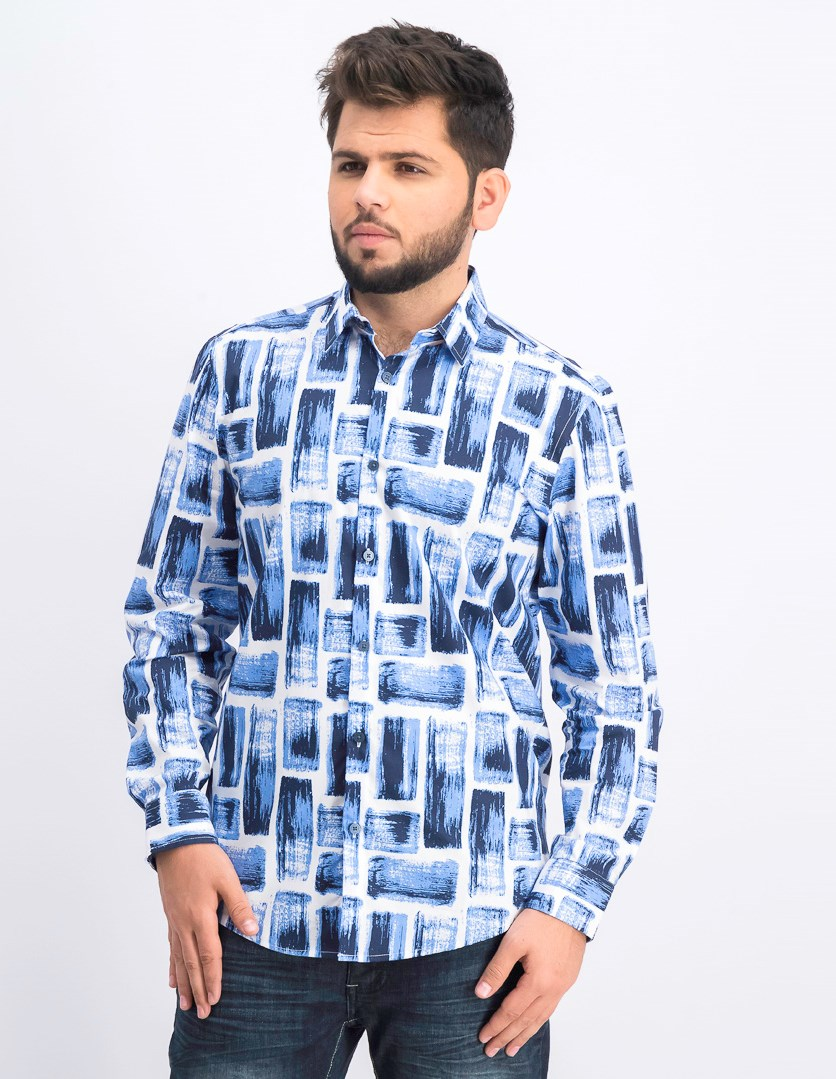Men's Long Sleeve Shirt, Luminous Blue