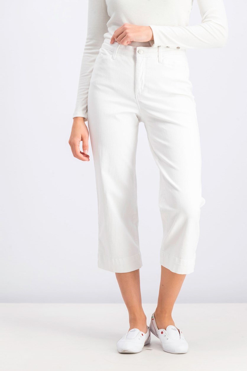 Women's Petite Tummy-Control Cropped Jeans, Bright White