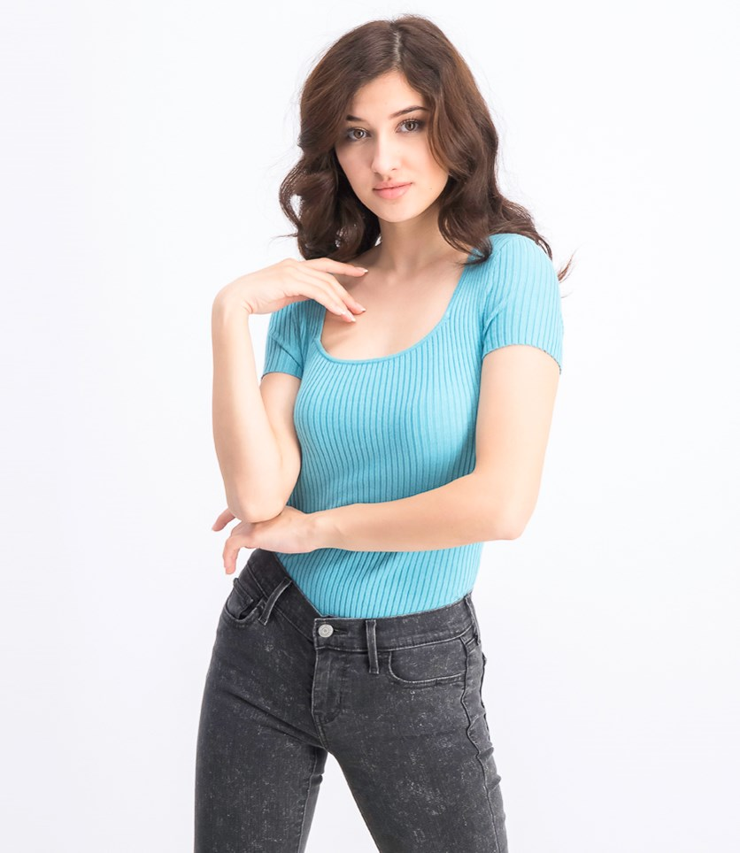 Women's Square-Neck Ribbed Sweater Top, Light Lagoon