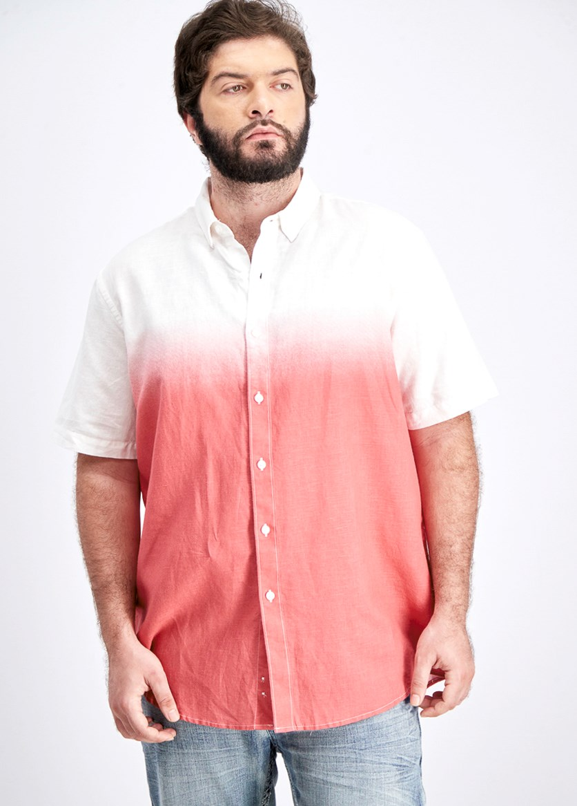 Men's Dip Dyed Linen Shirt, Summer Melon