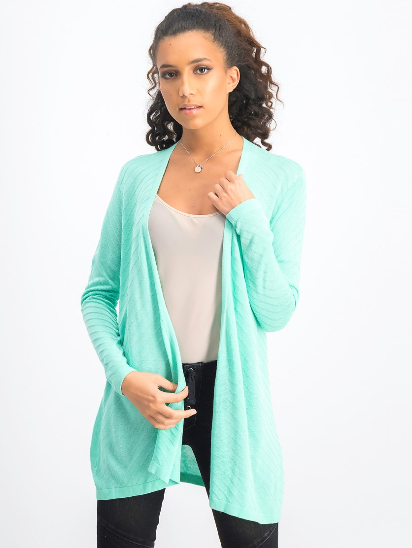 Women's Geo-Stitch Open-Front Cardigan, Aqua Gloss