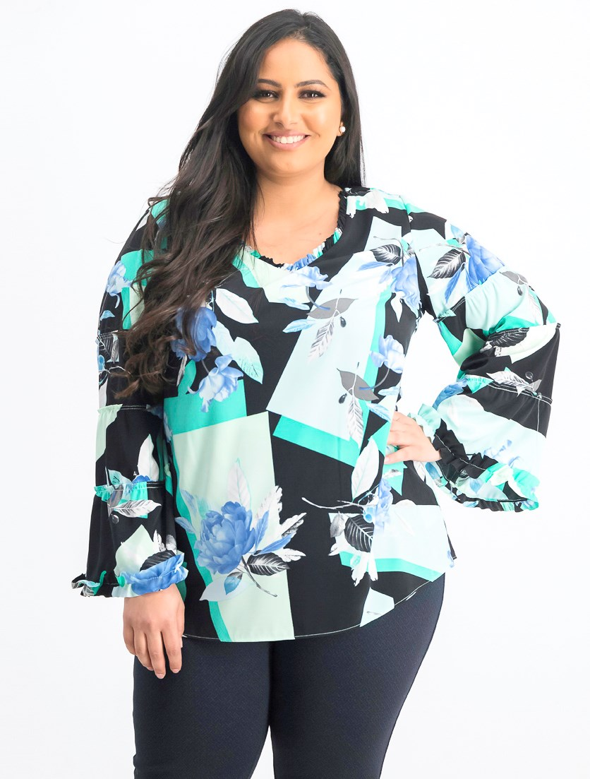 Womens Plus Size Printed Ruffle-Trim Blouse, Mint/Black Floral