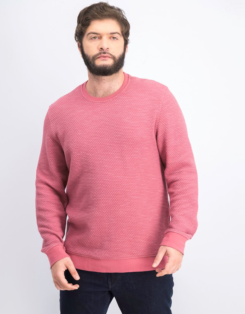 Men's Textured Sweatshirt, Segovia Mauve