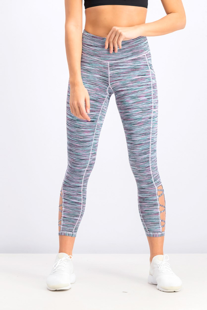 Women's Space-Dyed Cutout Leggings, Crystal Mist