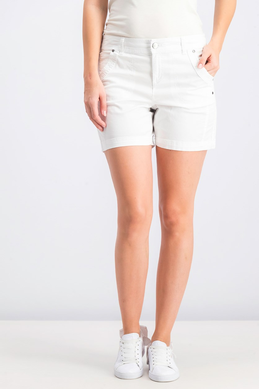 Women's  Petite Relaxed Fit Shorts, White
