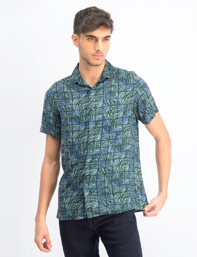 Men's Leaf Grid Silk Shirt, Sage Combo