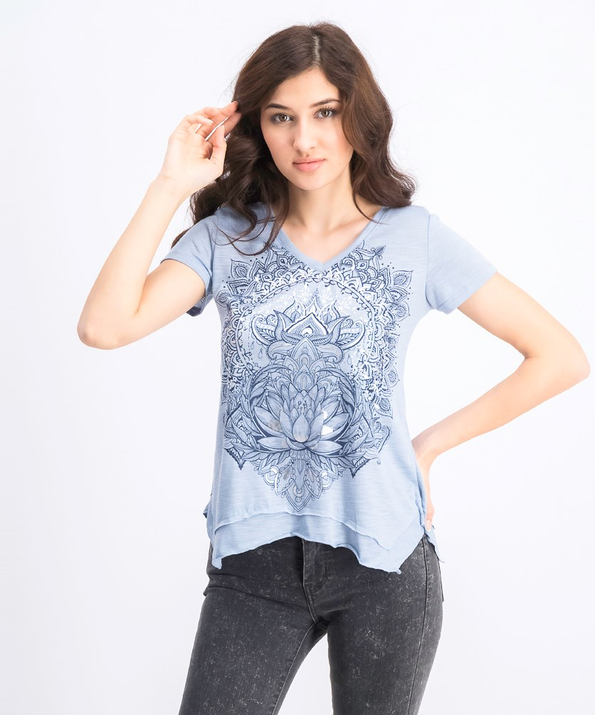 Women's Petite Graphic-Print Handkerchief-Hem T-Shirt, Lotus Sunrise
