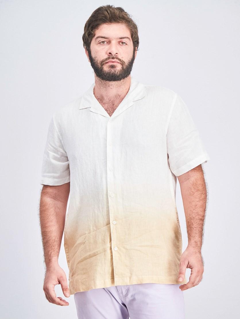 Men's Ombre Shirt, White/Beige