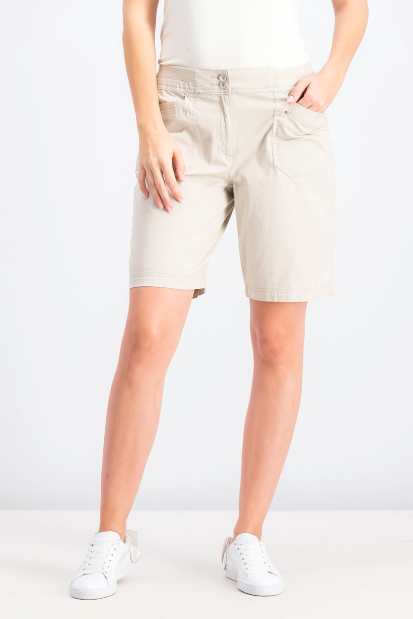 Women's Knit-Waistband Bermuda Shorts, Stonewall