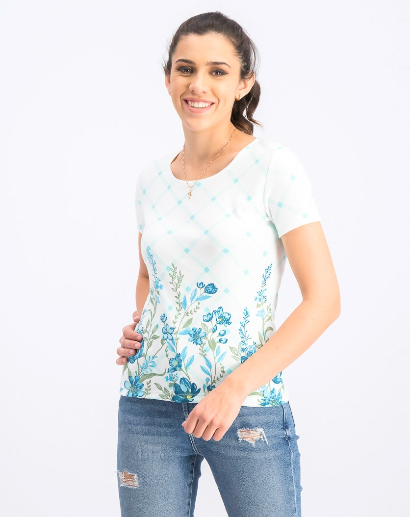 Women's Petite Printed Scoop-Neck Top, Pacific Aqua