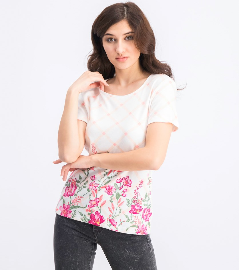 Women's Petite Printed Scoop-Neck Top, Steel Rose