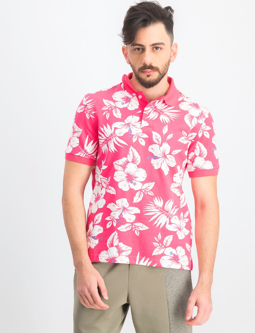 Men's Hibiscus Flower-Print Polo, Radiant Rose