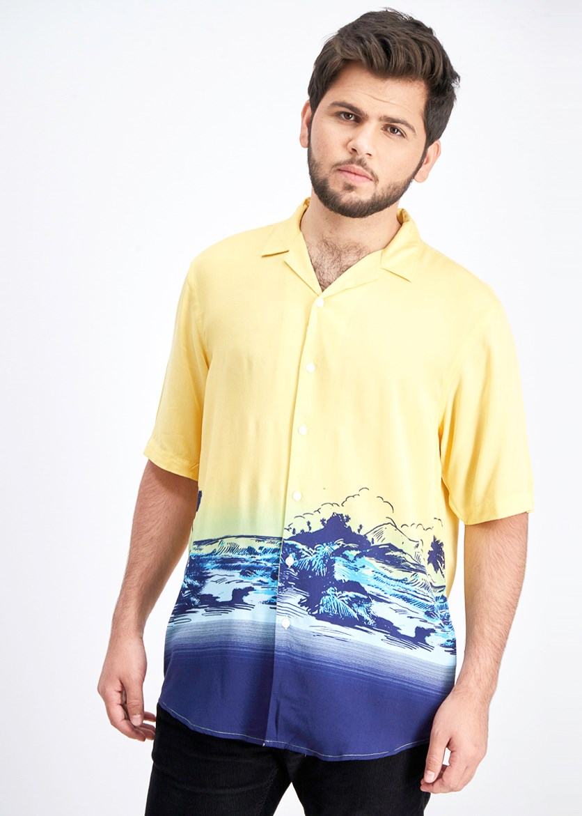 Men's Colorblocked Tropical-Print Camp Collar Shirt, Sunwash Yellow