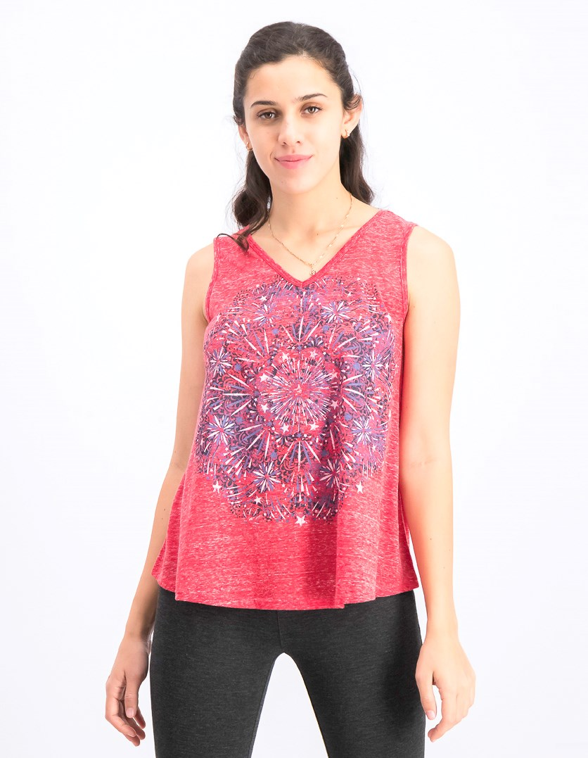 Women's Petite Graphic Print Tank Top, Firework Medal