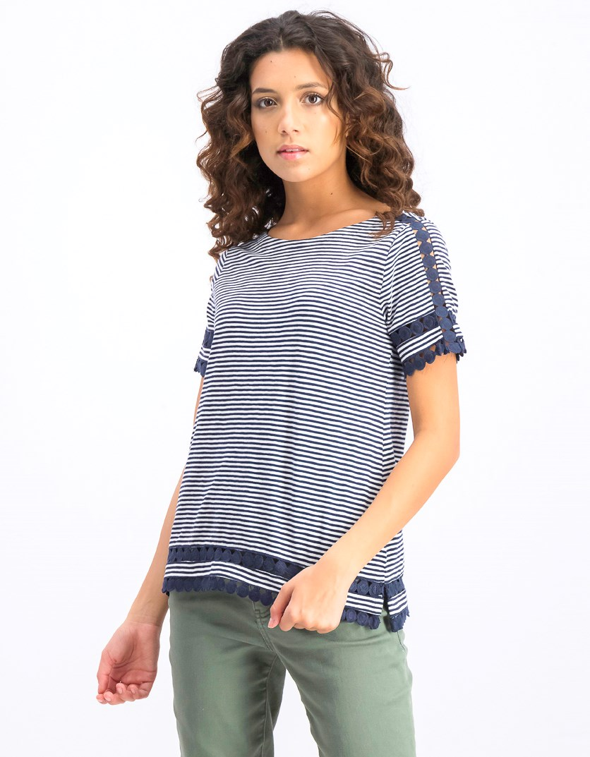 Womens Petite Cotton Circle-Trim Top, Intrepid Blue