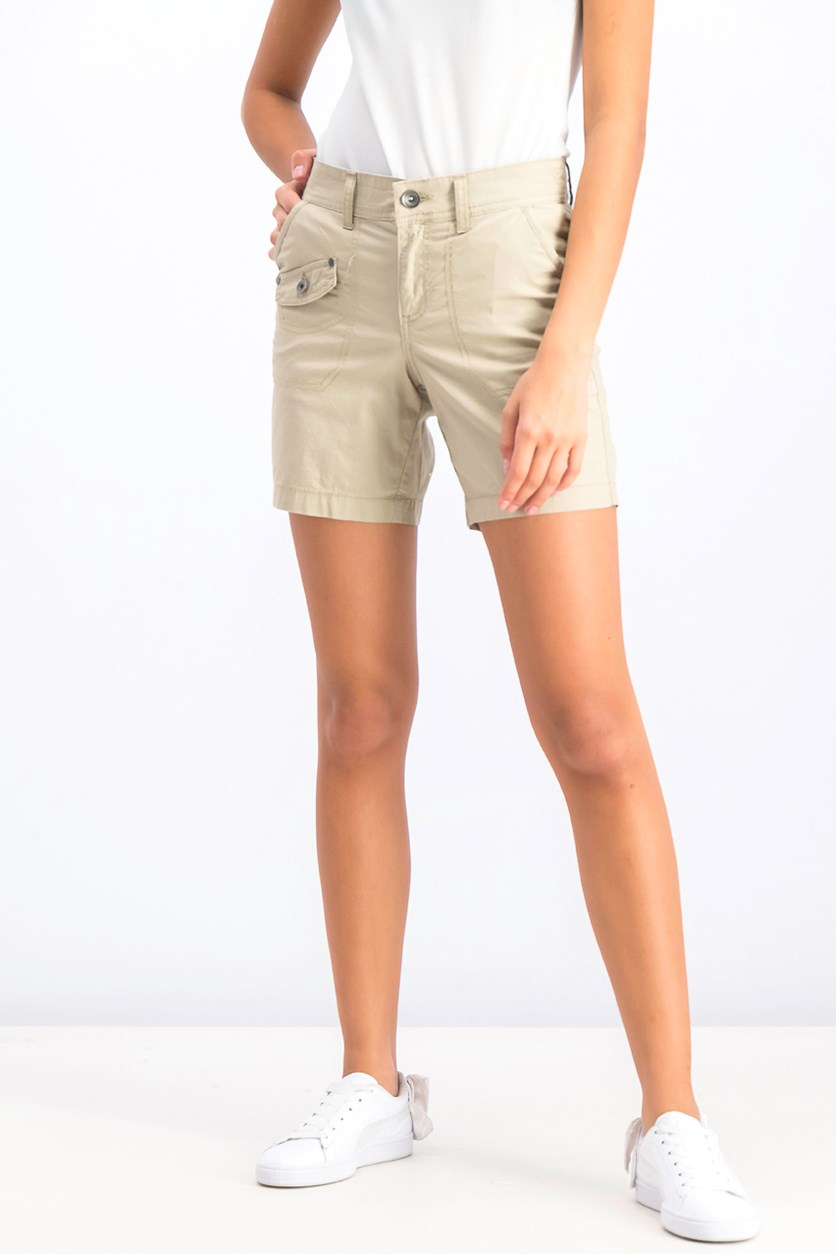 Women's Petite Flap-Pocket Shorts, French Birch
