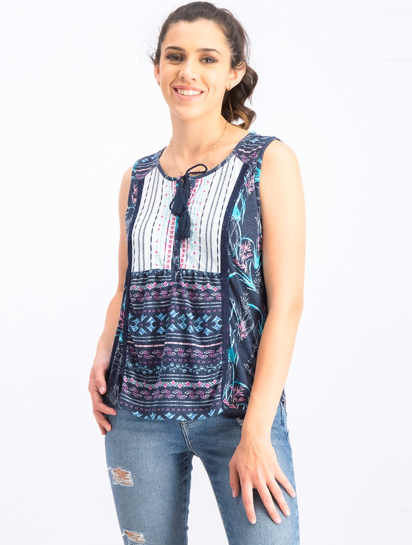 Women's Petite Mixed-Print Tie-Front Top, Brushed Buds