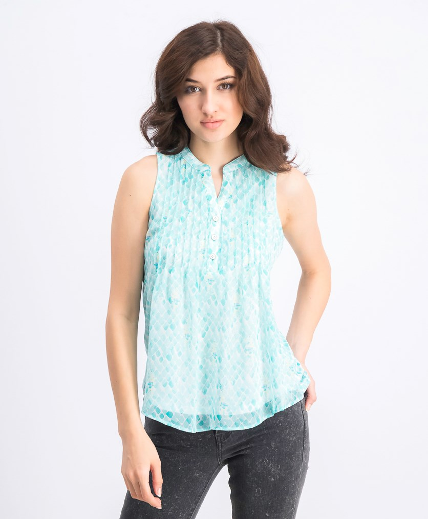 Women's Petite Seahorse-Print Pintucked Top, Aqua Gloss Combo