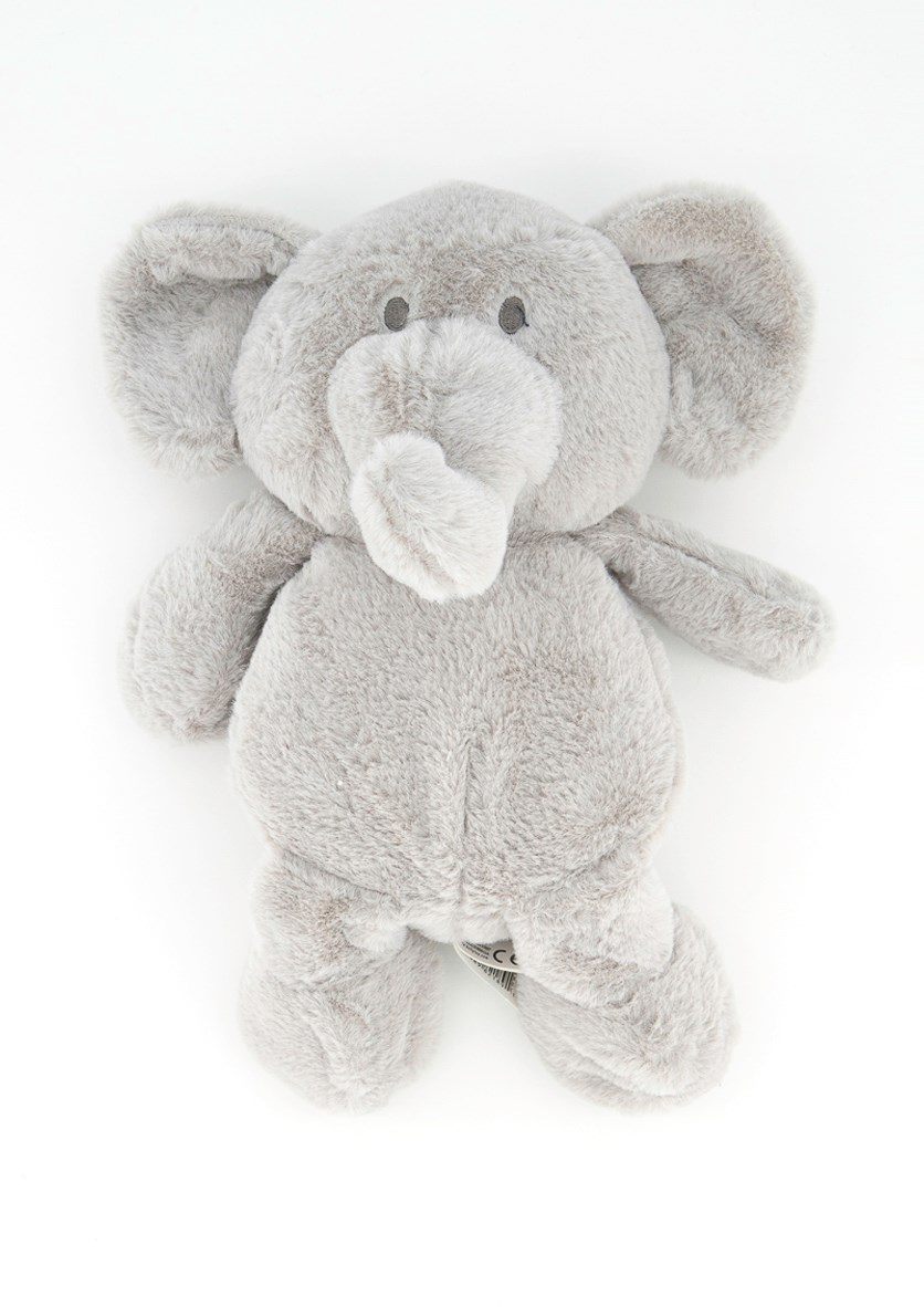 Baby Plush Elephant With Rattle, Gray