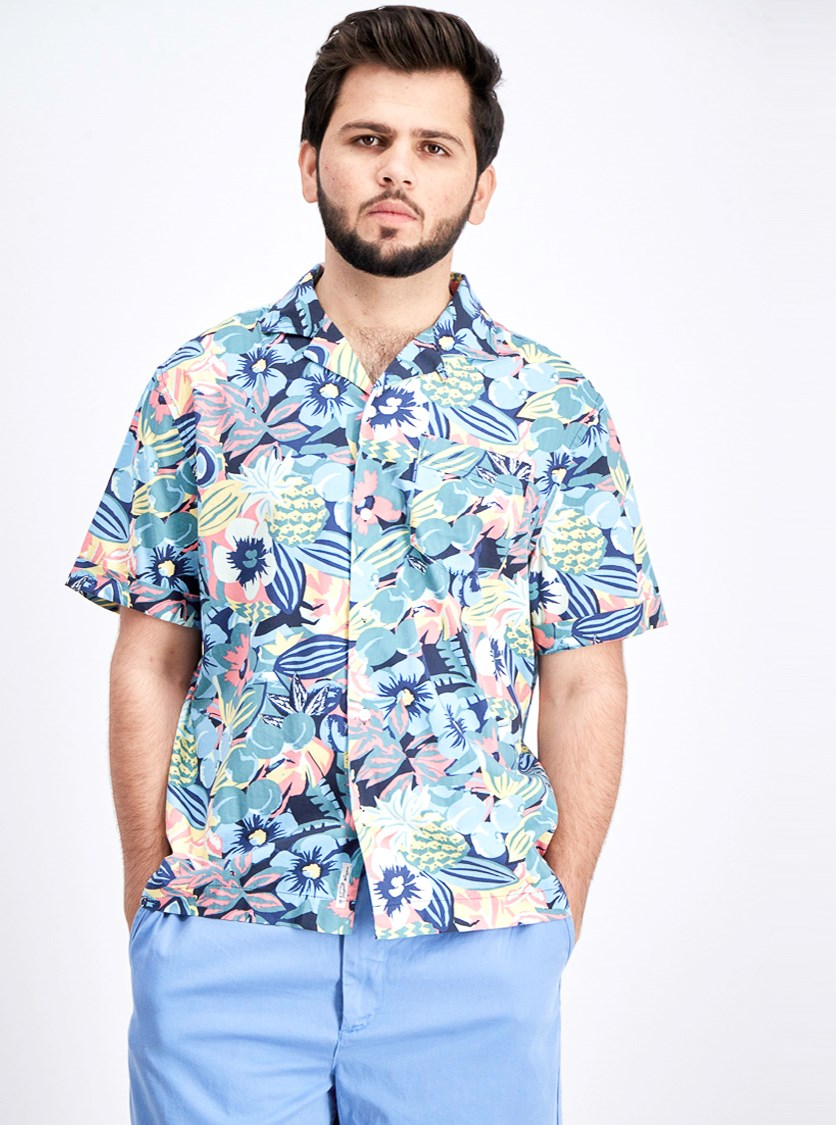 Men's Short Sleeve Psychedelic Floral Shirt, Sargasso Sea