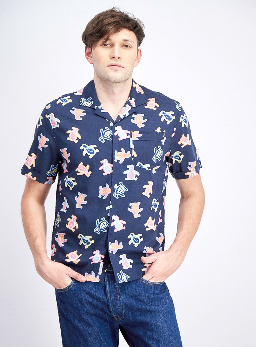 Men Neon Pete Button-up Camp Shirt, Dark Sapphire