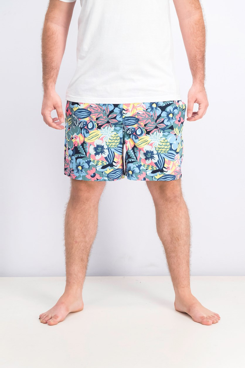 Men's Floral Swim Trunks, Blue Combo