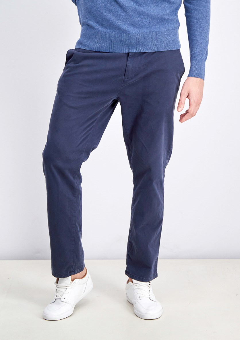 Men's Tapered-Leg Sateen Pants, Navy