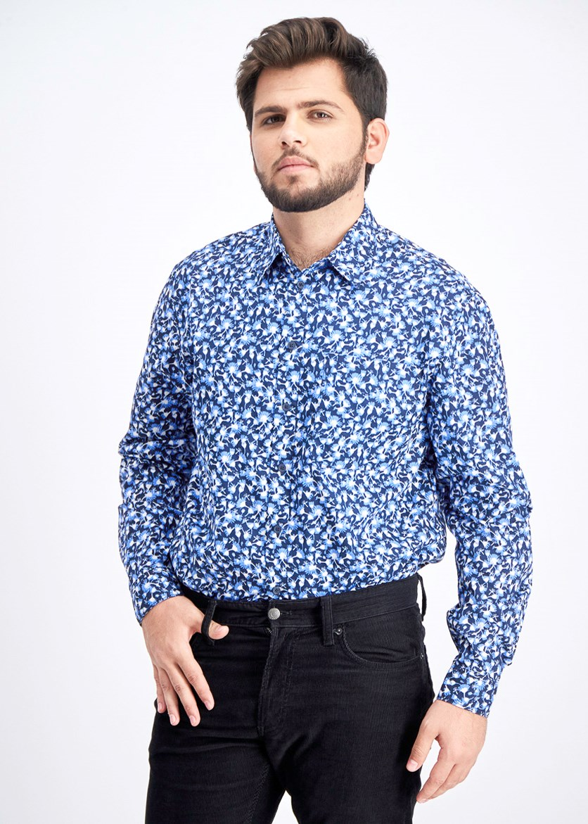 Men's Floral Collared Button-Down Shirt, Navy/Blue