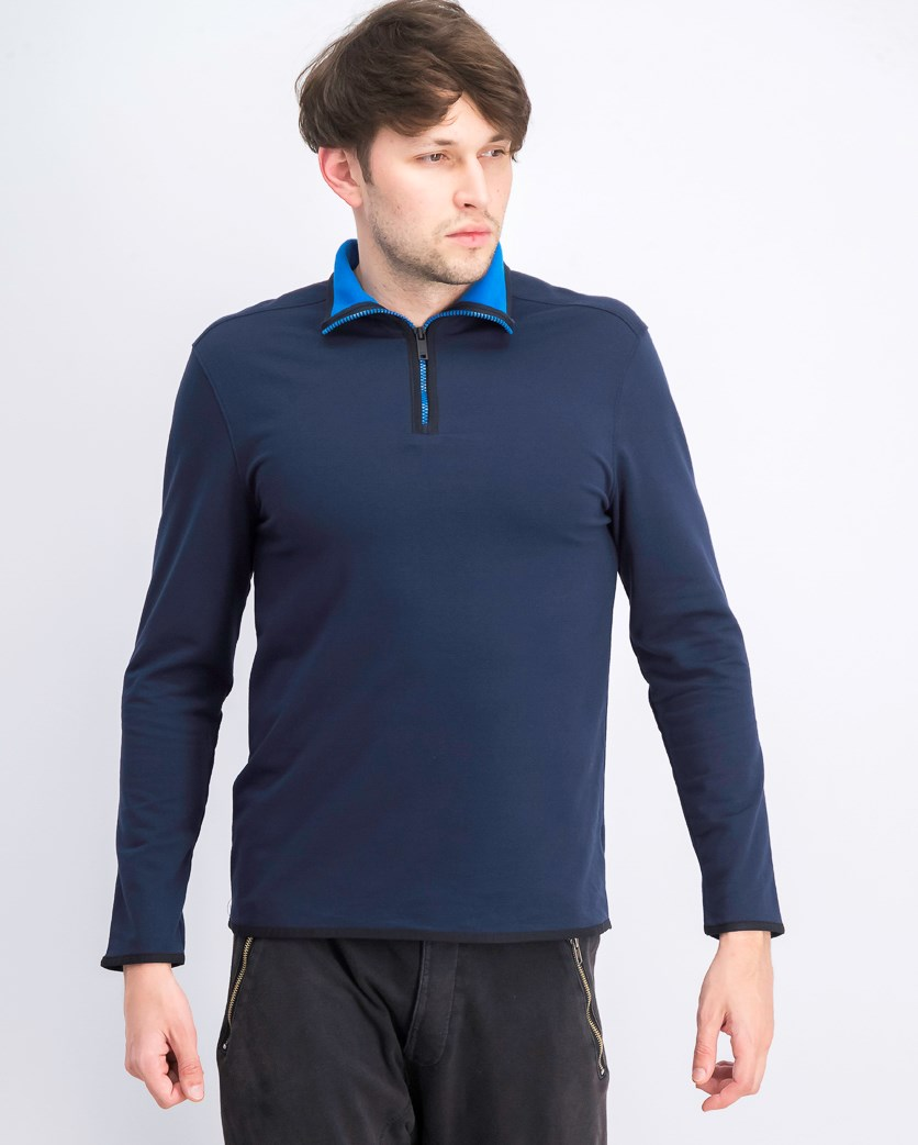 Men's Contrast Tipped Quarter-Zip Sweatshirt, Navy Blazer