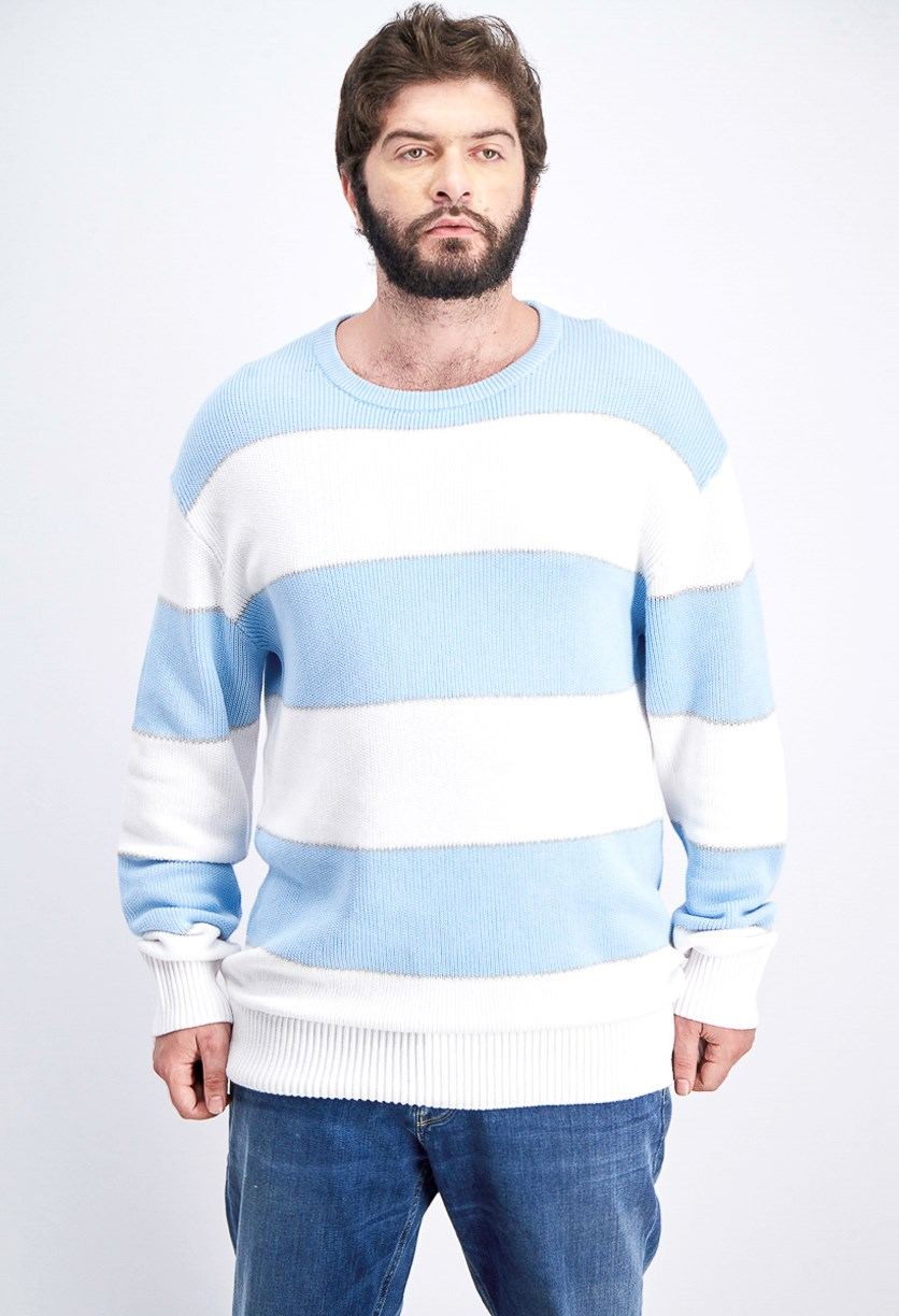 Men's Striped Knit Crew-Neck Sweater, Cerulean/White