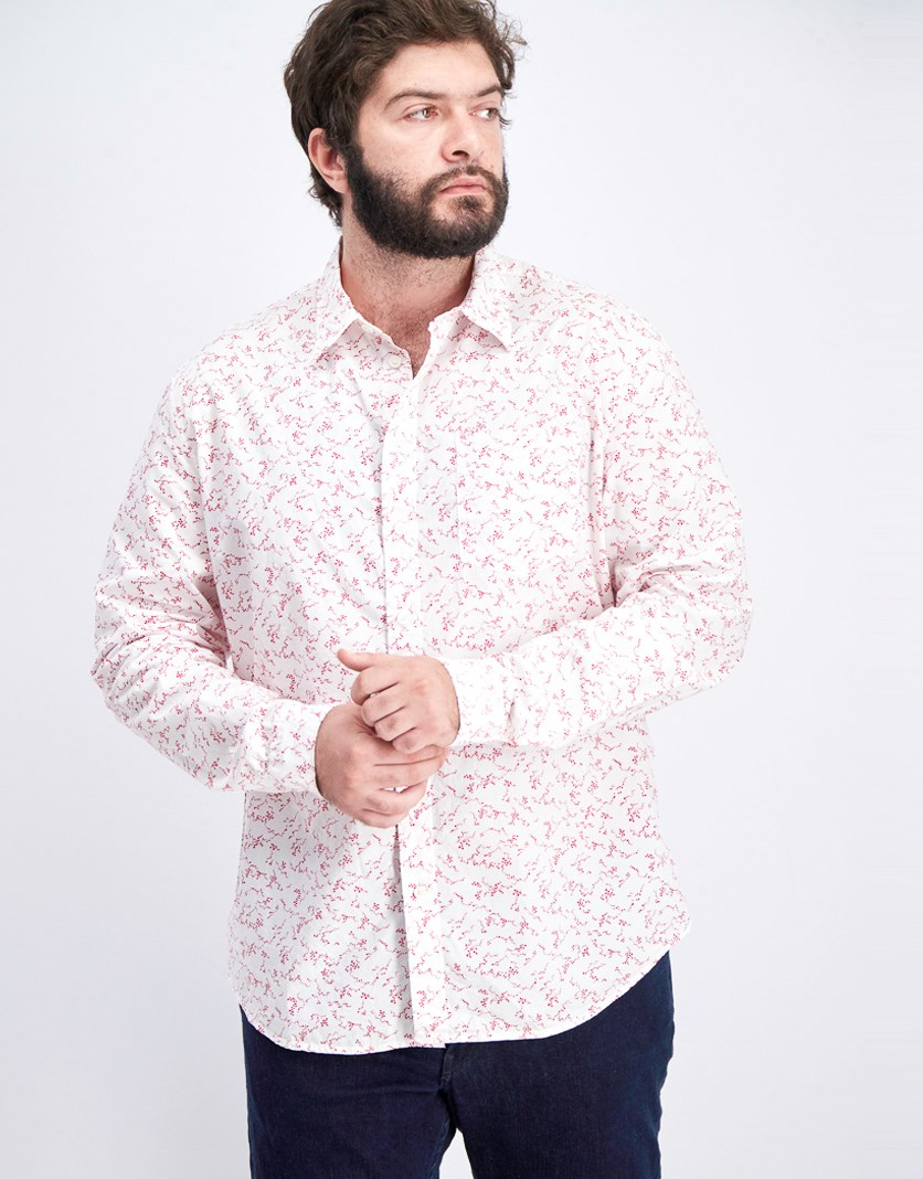 Men's Ditsy Print Button-Down Shirt, White/Red