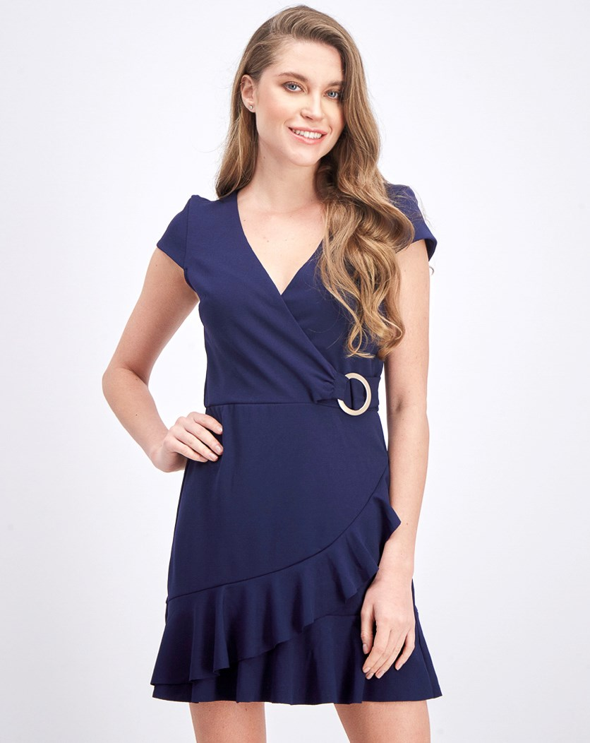 Juniors' Ruffle Faux-Wrap Dress, Midnight
