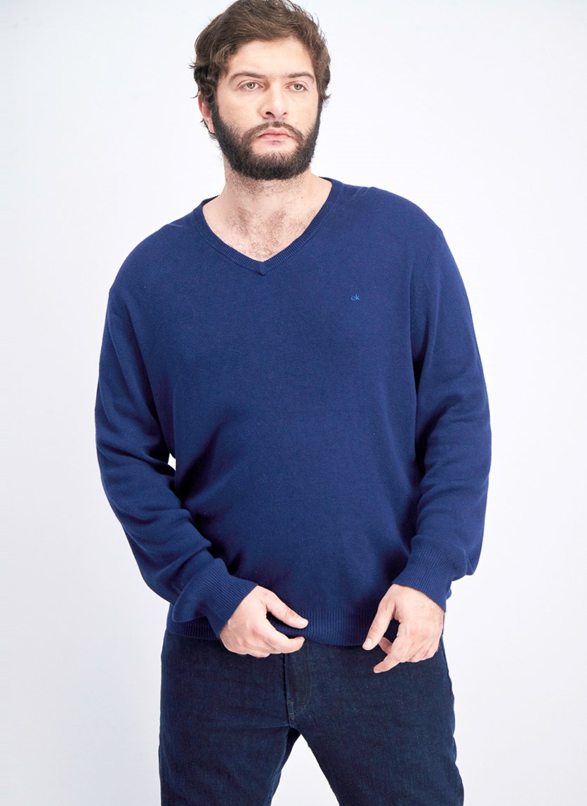 Mens Ribbed Sweater, Norton Blue
