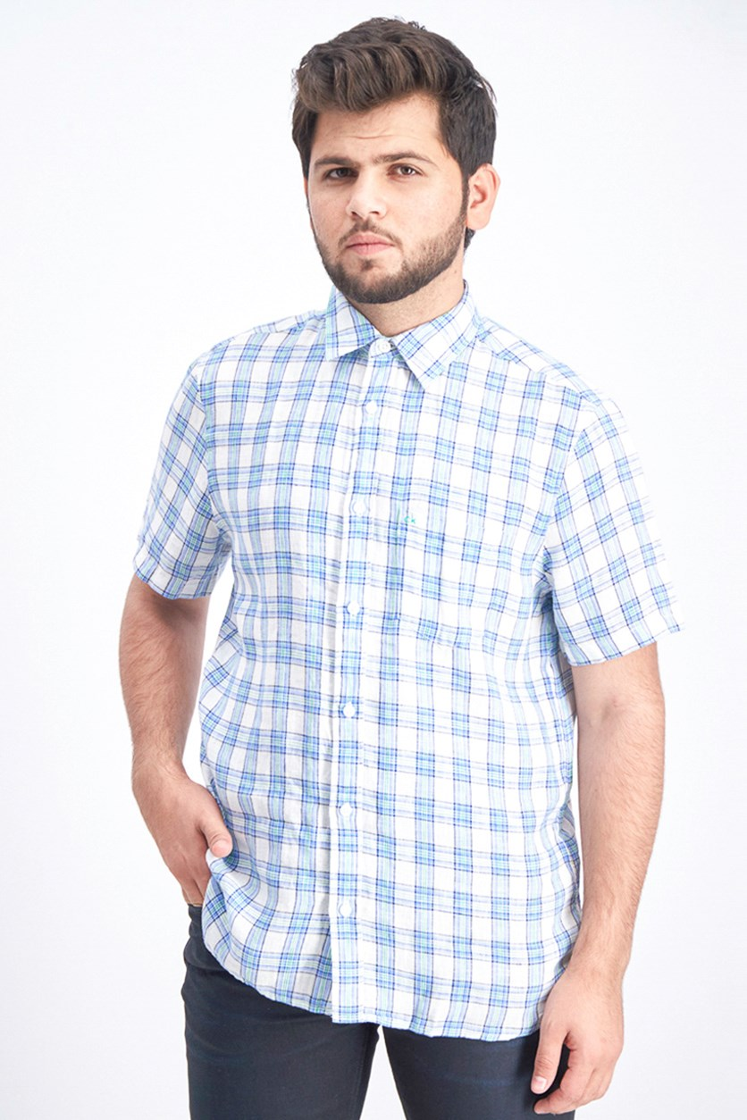Men's Short Sleeve Woven Linen Polo Shirt, Cornflower Blue
