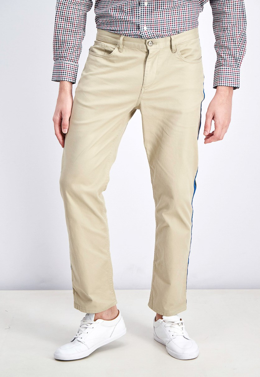 Men's Slim-Fit Side-Stripe Jeans, Coffee Taupe