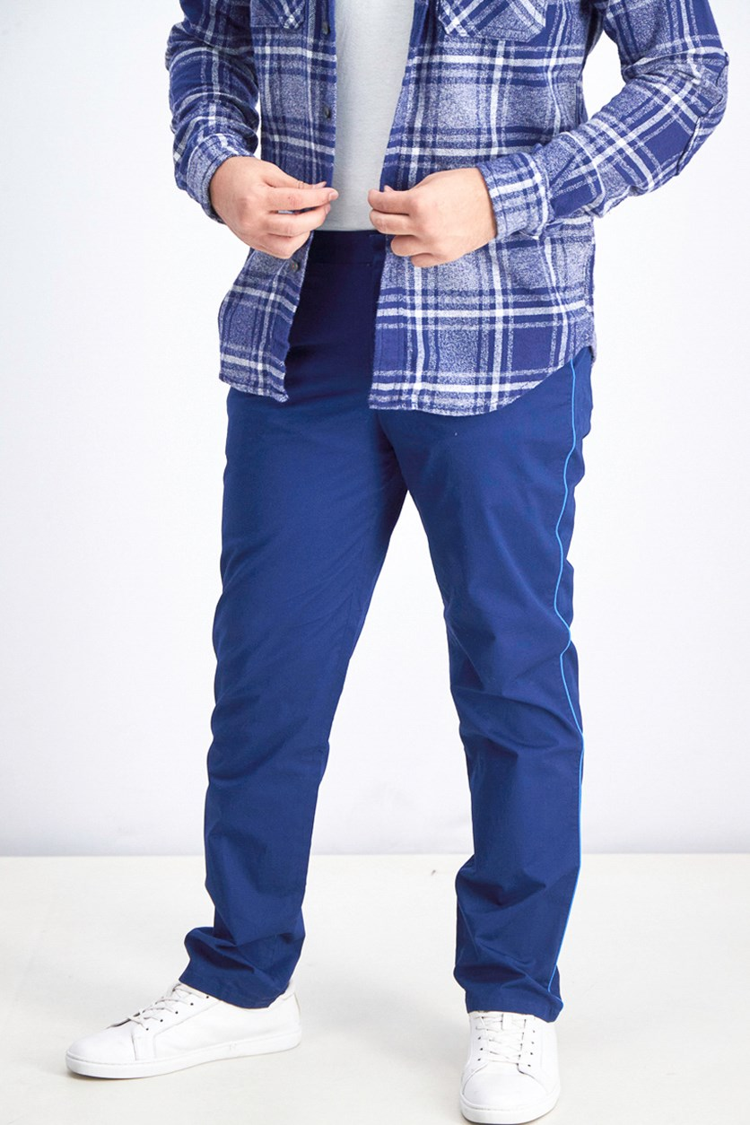 Men's Classic-Fit Stretch Contrast-Piped Pants, Royal Navy