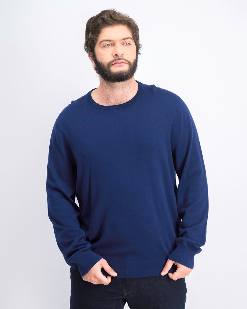 Men's Basic Logo Solid Sweater, Navy