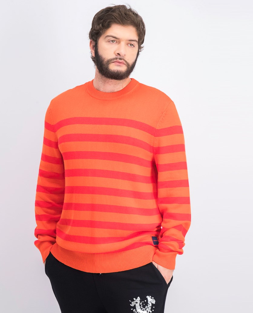 Men's Stripe Sweater, Orange/Red