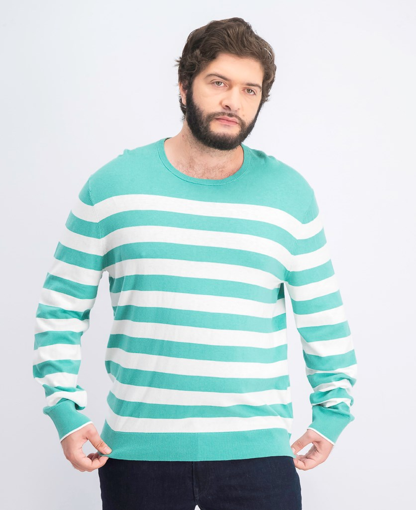 Men's Striped Logo Sweater, Juniper