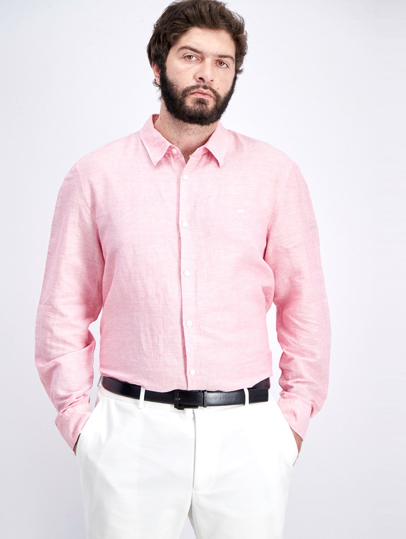 Men's Chambray Long-sleeve Shirt, Poinsetta Pink